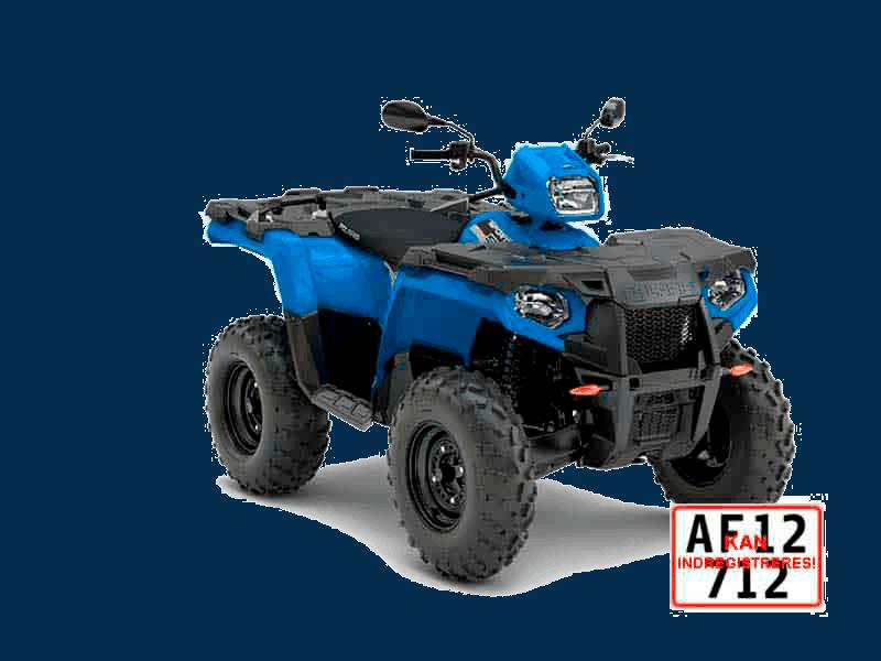 Blå ATV på plader. Indregistreret POlaris SP 570cc ATV til vej