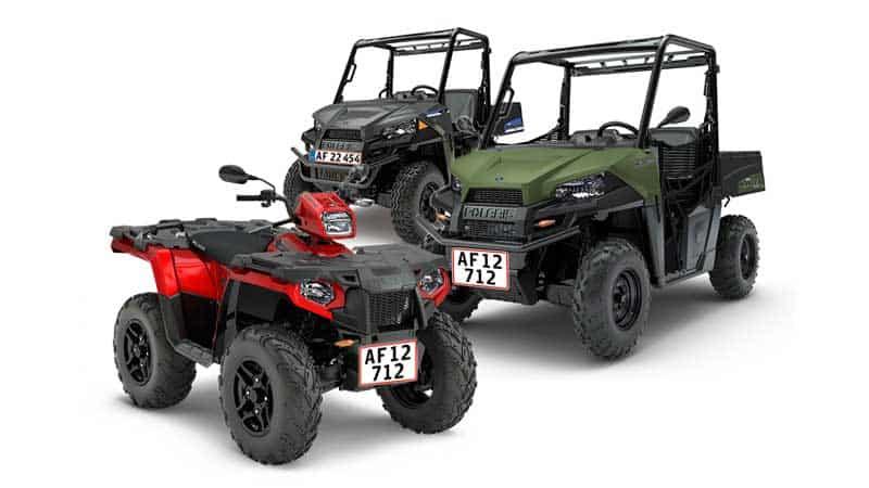 Polaris sportsman ATV, Ranger UTV og EL UTV på plader