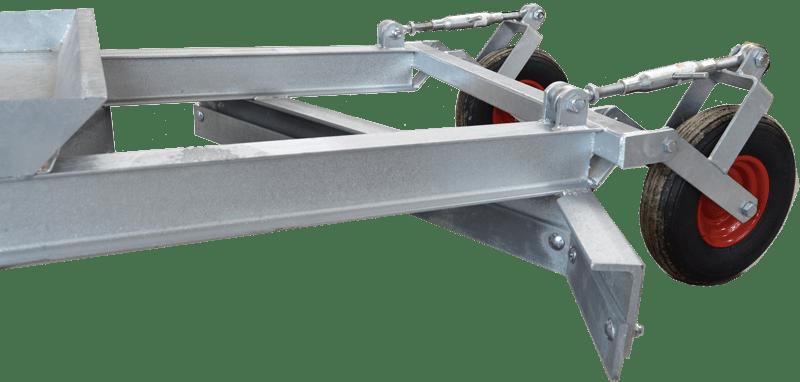 Detalje af Polaris vejhøvl til ATV og minimaskiner. Vendbare skær og kraftige hjul.
