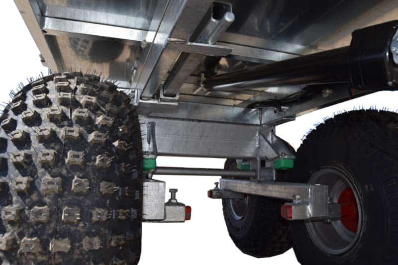 ATV vogn fra danske Solus. Gennemtænkt ATV vogn med stødabsorbering.