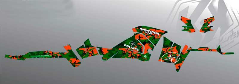 Designlayout til Polaris specialdesignede ATV Grafik kit folie